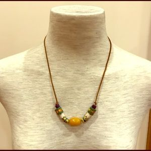 Jewelry - Vintage yellow white green ceramic bead necklace.